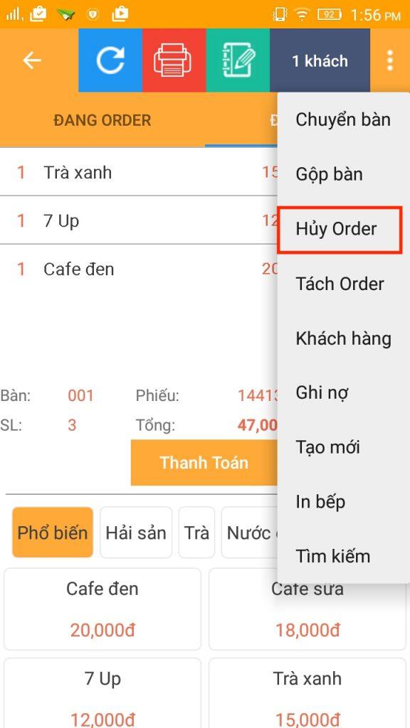 menu huy order