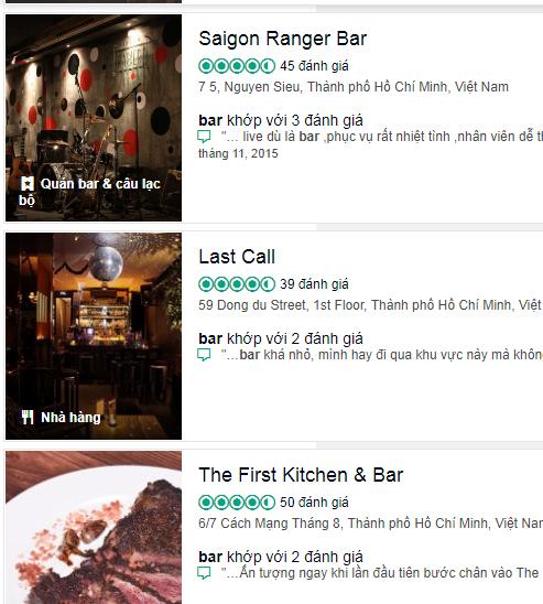 quảng cáo bar trên tripadvisor