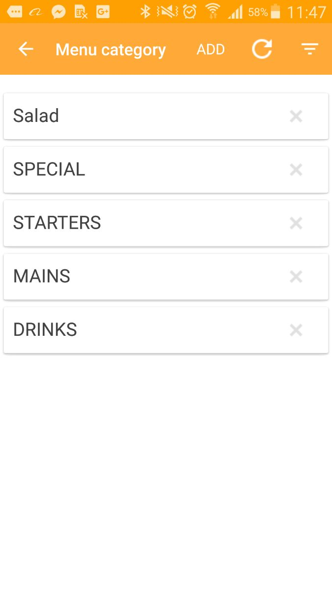 POS menu category