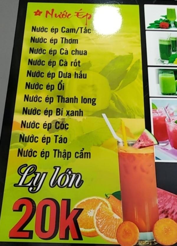 menu nước ép mix