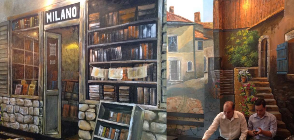 tranh tường 3d dành cho quán cafe