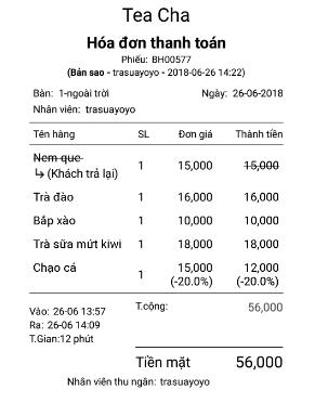 hóa đơn quán trà sữa