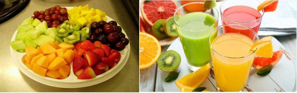 kinh doanh sinh tố kết hợp với trái cây dĩa