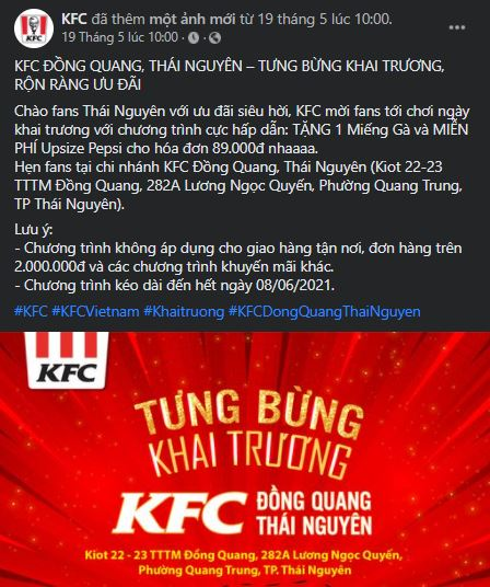 status khai trương KFC