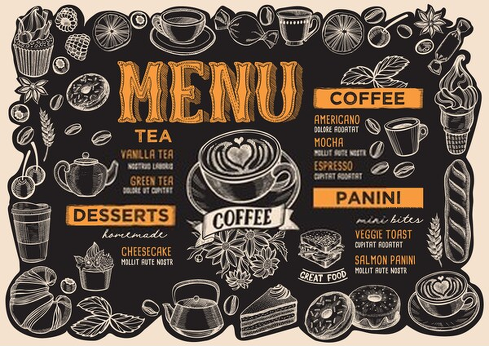 setup menu quán cafe