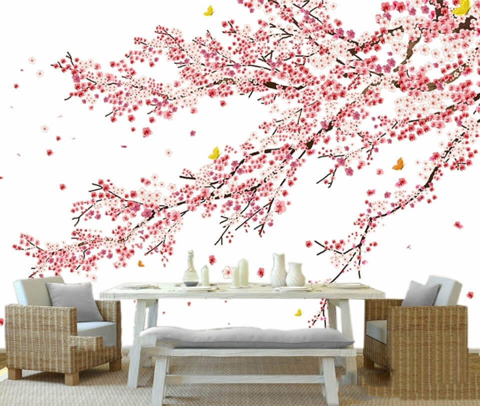 Trang trí quán ăn bằng giấy dán tường còn có nghĩa may măn và tài lộc cho quán của bạn