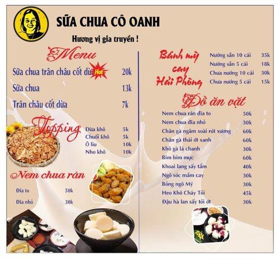menu sữa chua cô Oanh