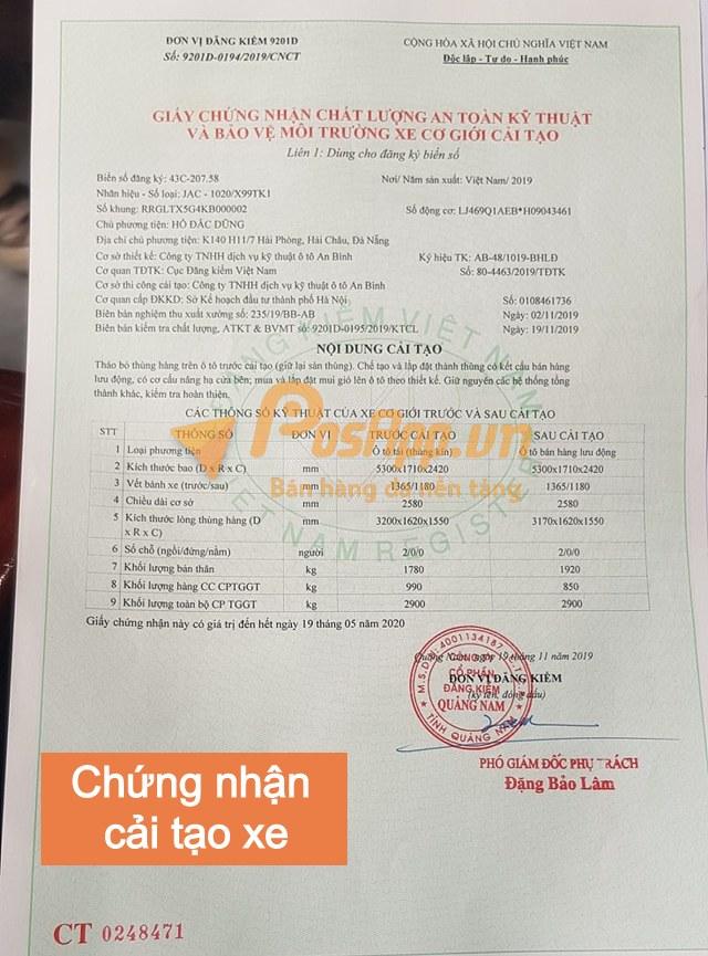 giấy chứng nhận cải tạo xe cơ giới