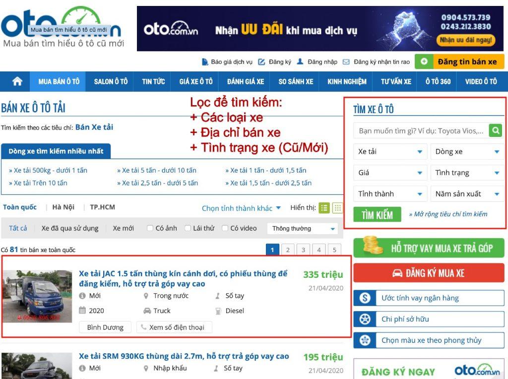 mua xe cũ ở oto.com.vn