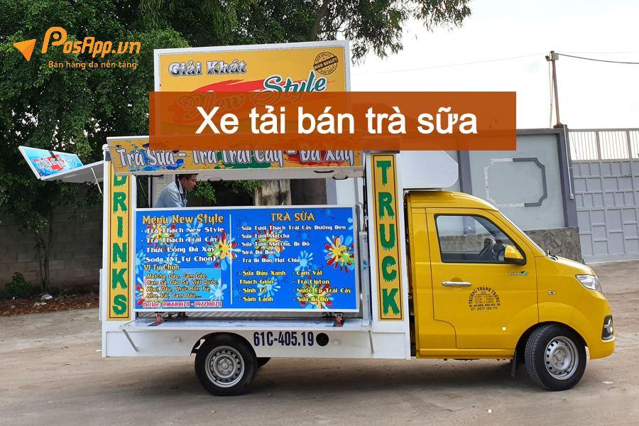 Xe tải bán trà sữa - đá xay lưu động