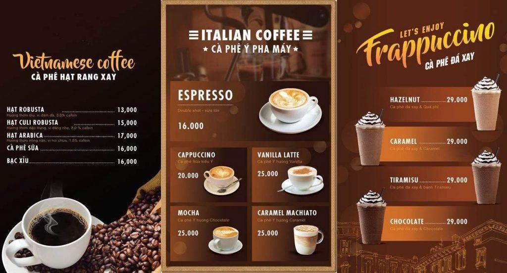 menu cafe đa dạng