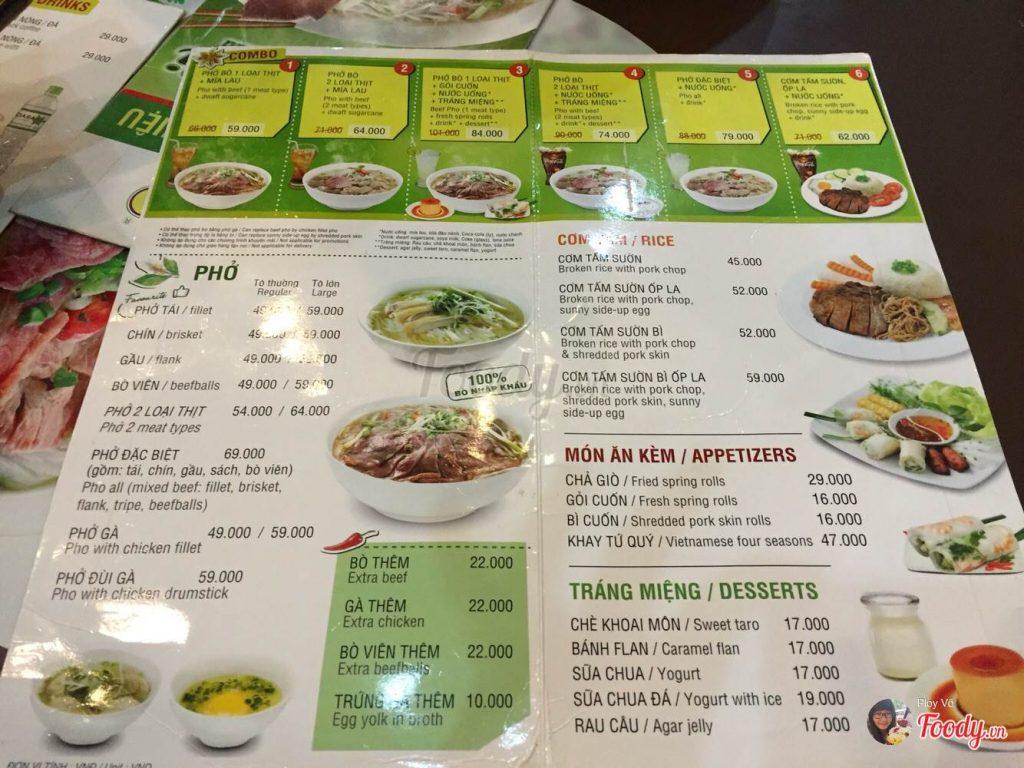 menu quán phở 24h