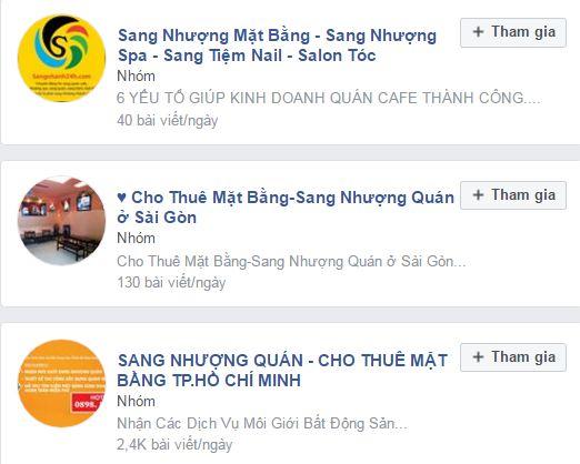 hội nhóm facebook sang nhượng mặt bằng spa