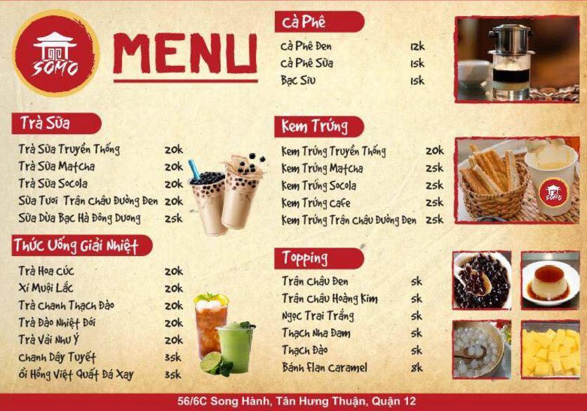 menu đồ uống tại somo