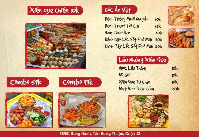 menu món ăn vặt tại somo