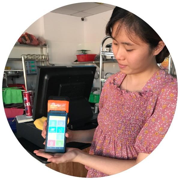 máy tính tiền cầm tay pac cho siêu thị mini