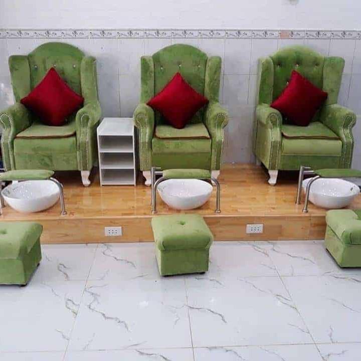 ghế làm nail bọc vải chân gỗ màu sắc