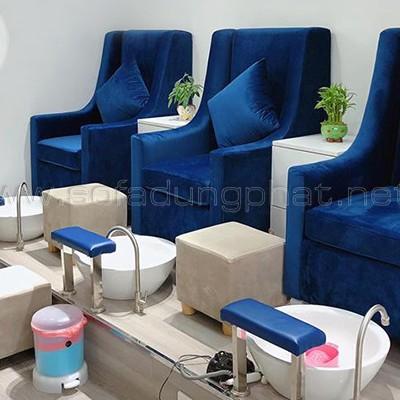 ghế làm nail bọc vải chân gỗ sang trọng