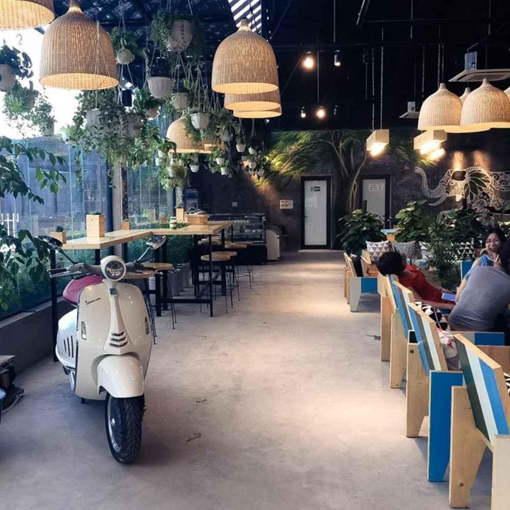 thiết kế quán cafe không gian mở đẹp