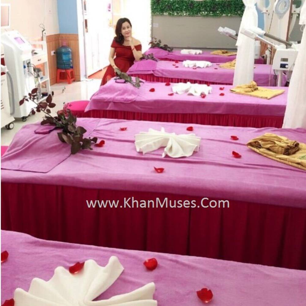 ga giường spa hồng