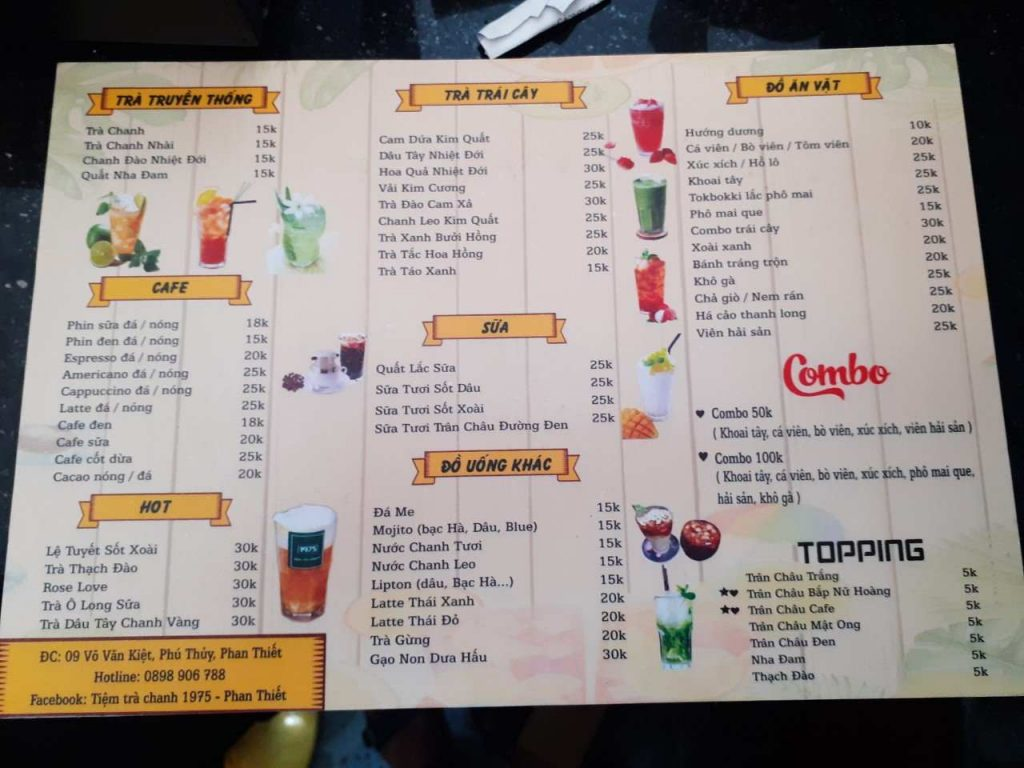 menu của quán trà chanh