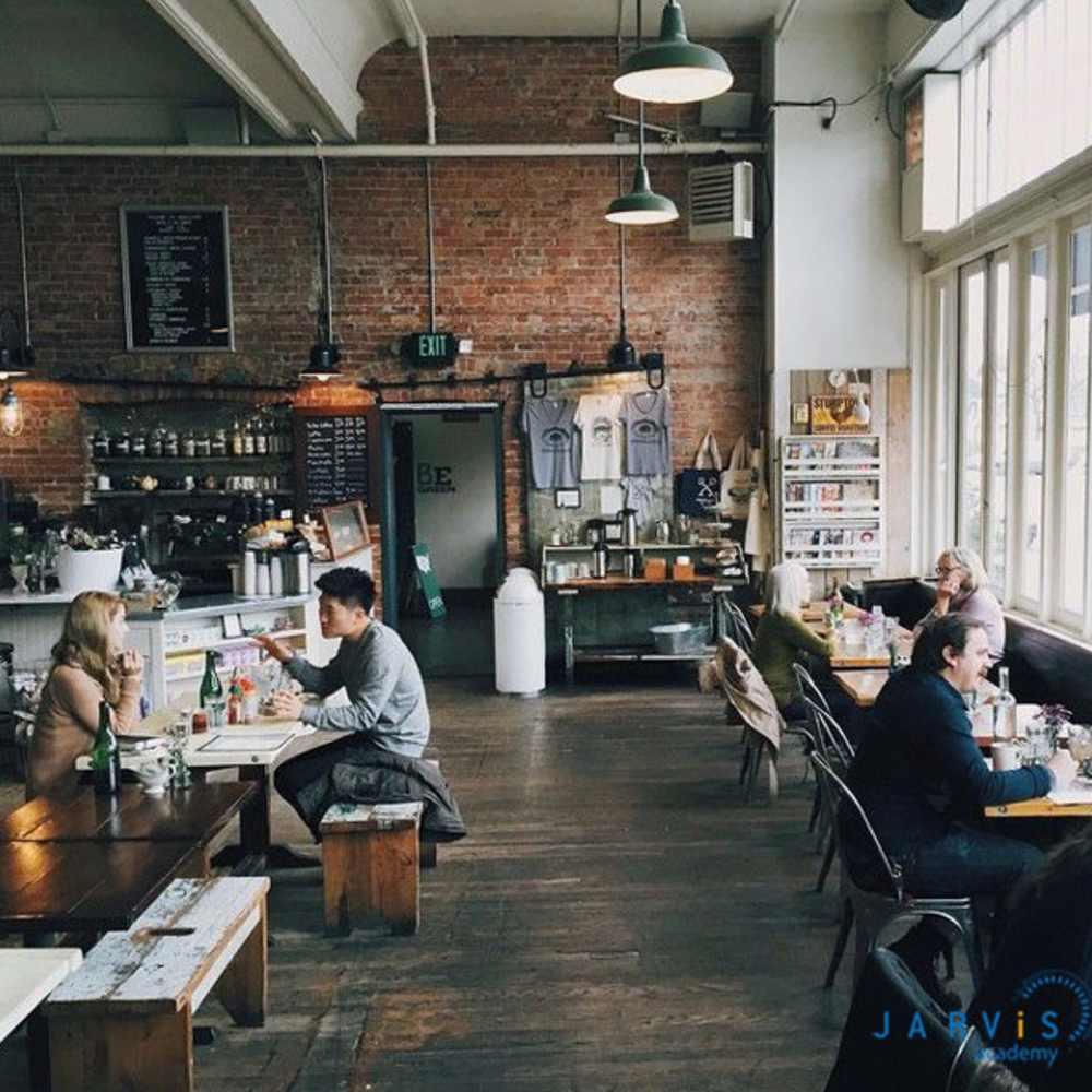 thiết kế quán cafe theo phong cách công nghiệp đơn giản