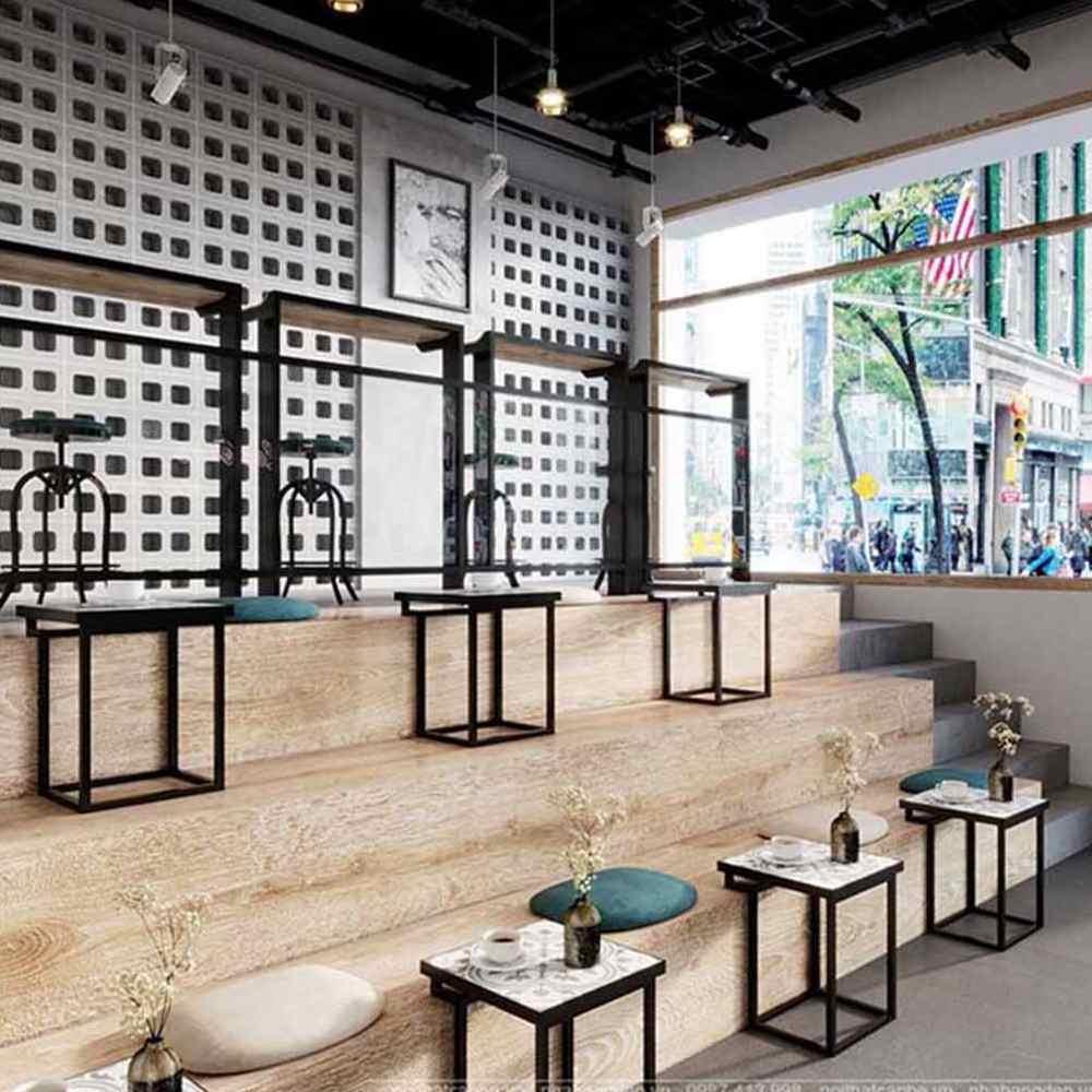 thiết kế quán cafe theo phong cách công nghiệp tiện dụng