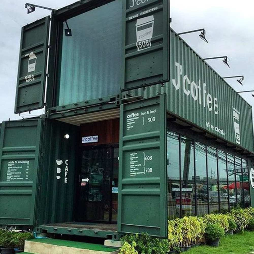 thiết kế quán cafe container phong cách