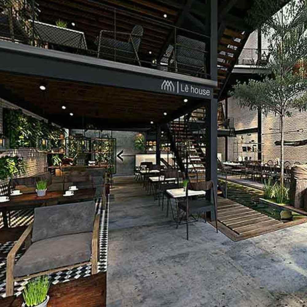 thiết kế quán cafe khung thép cơ bản