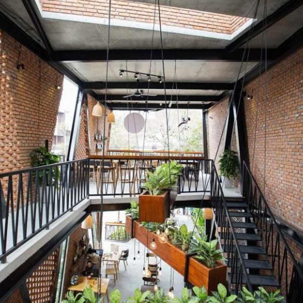 thiết kế quán cafe khung thép sang trọng