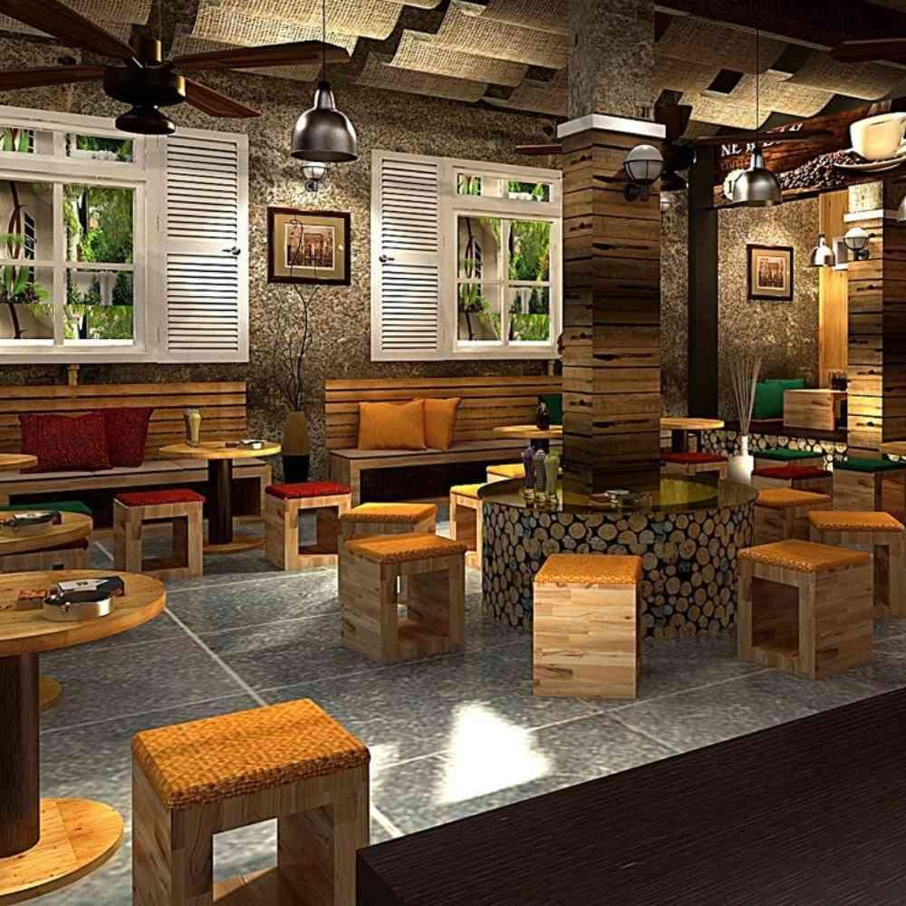 thiết kế quán cafe mộc cơ bản