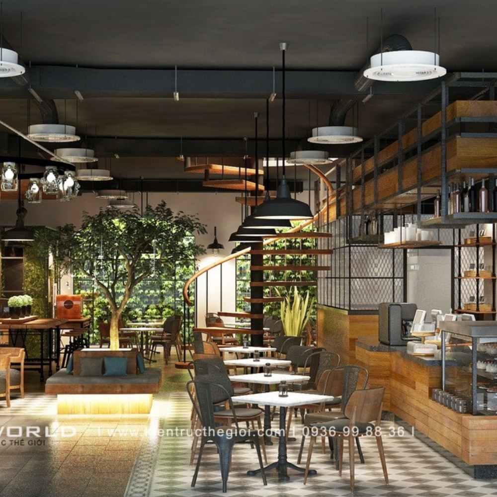 thiết kế quán cafe mộc đơn giản