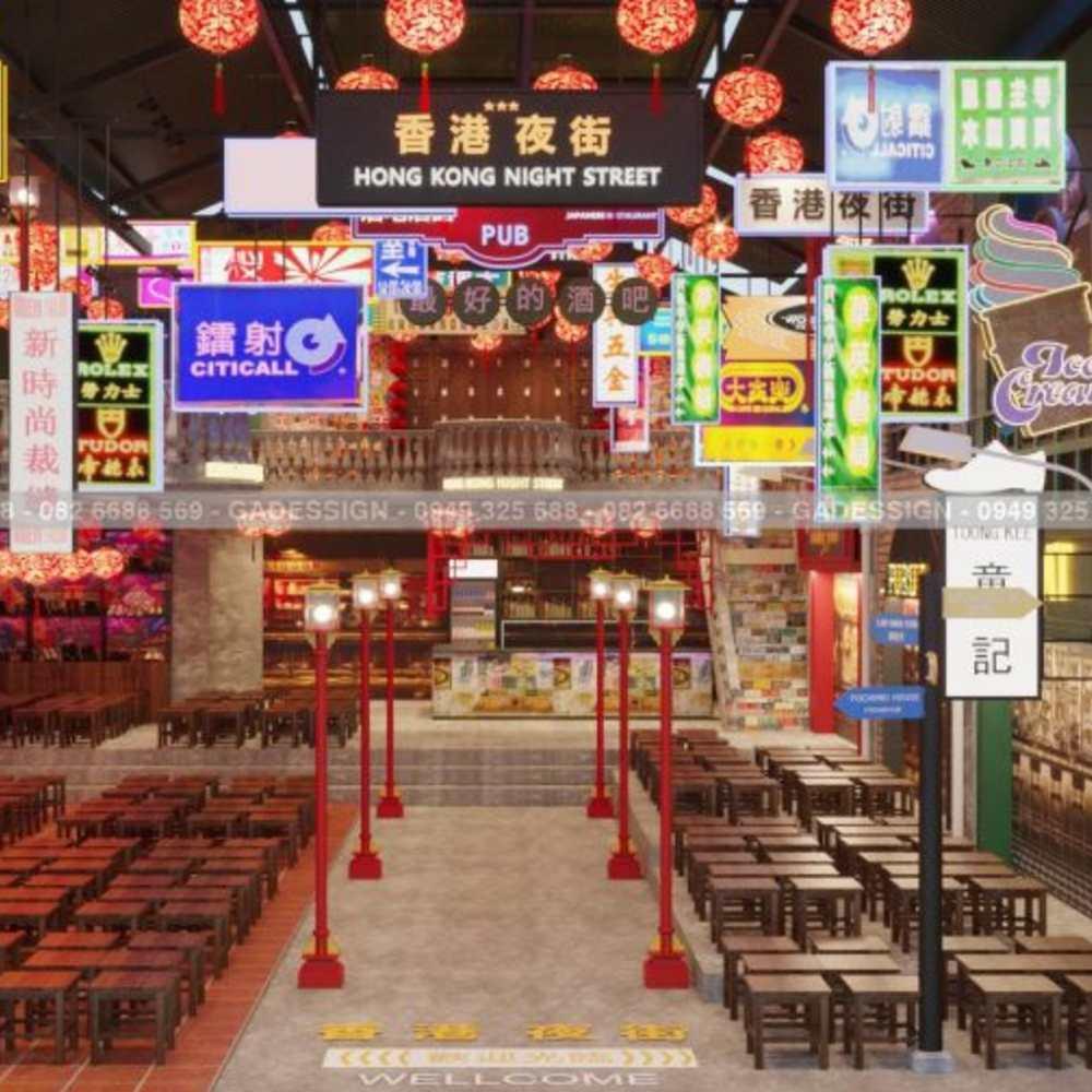 thiết kế quán cafe phong hongkong thời thượng