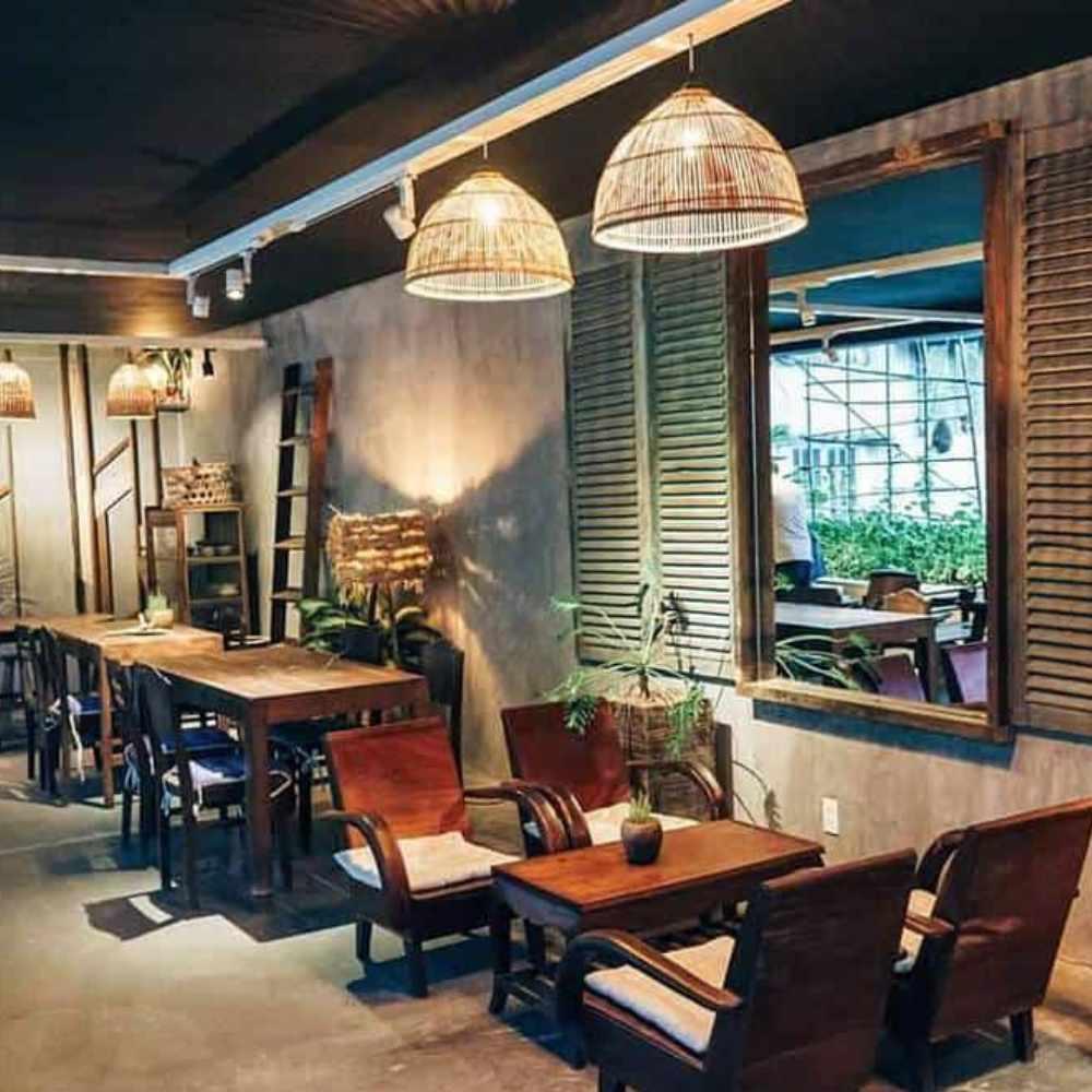 thiết kế quán cafe phong cách vintage đơn giản