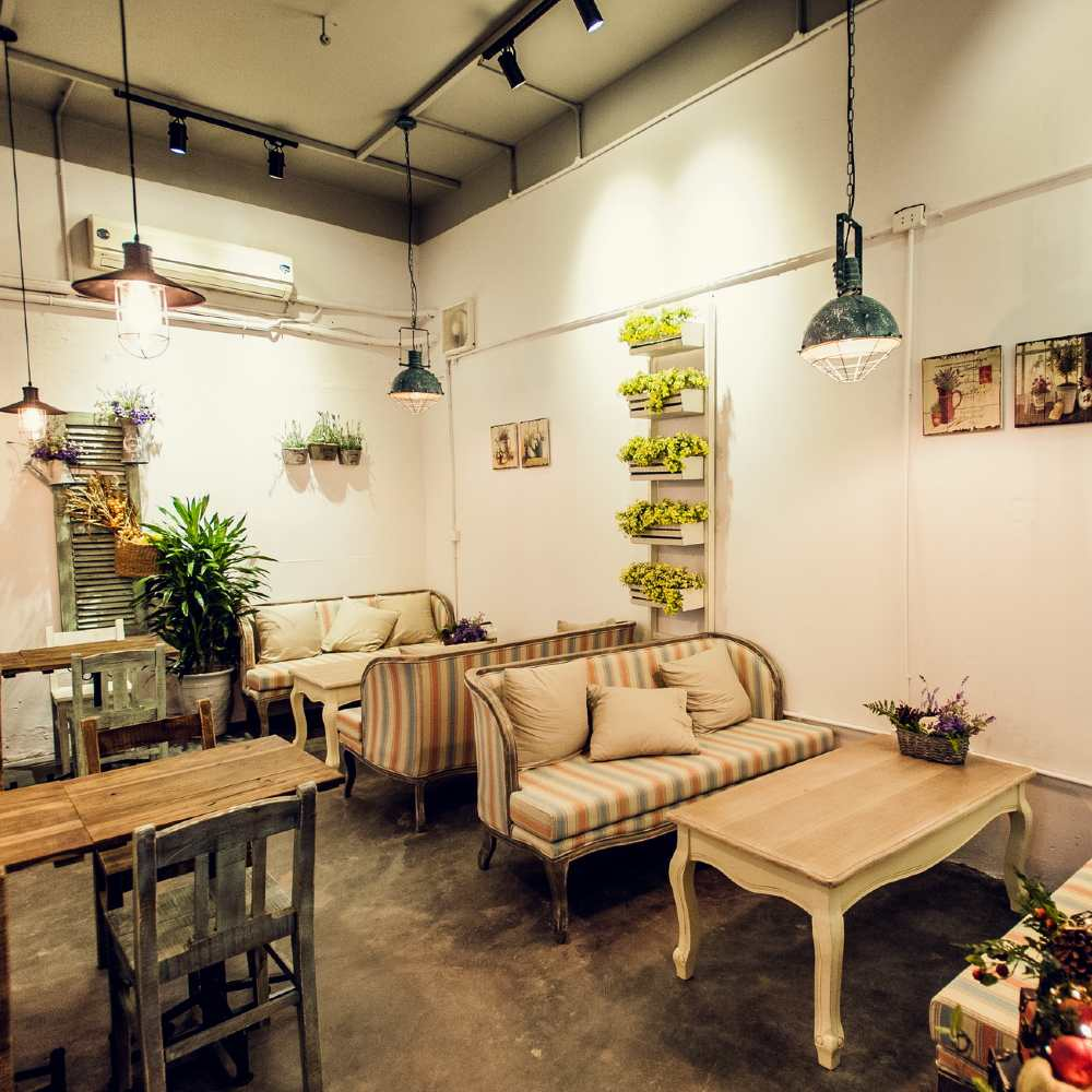 thiết kế quán cafe theo phong cách retro đơn giản