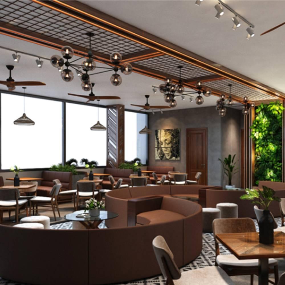 thiết kế quán cafe tại trung tâm thương mại đơn giản