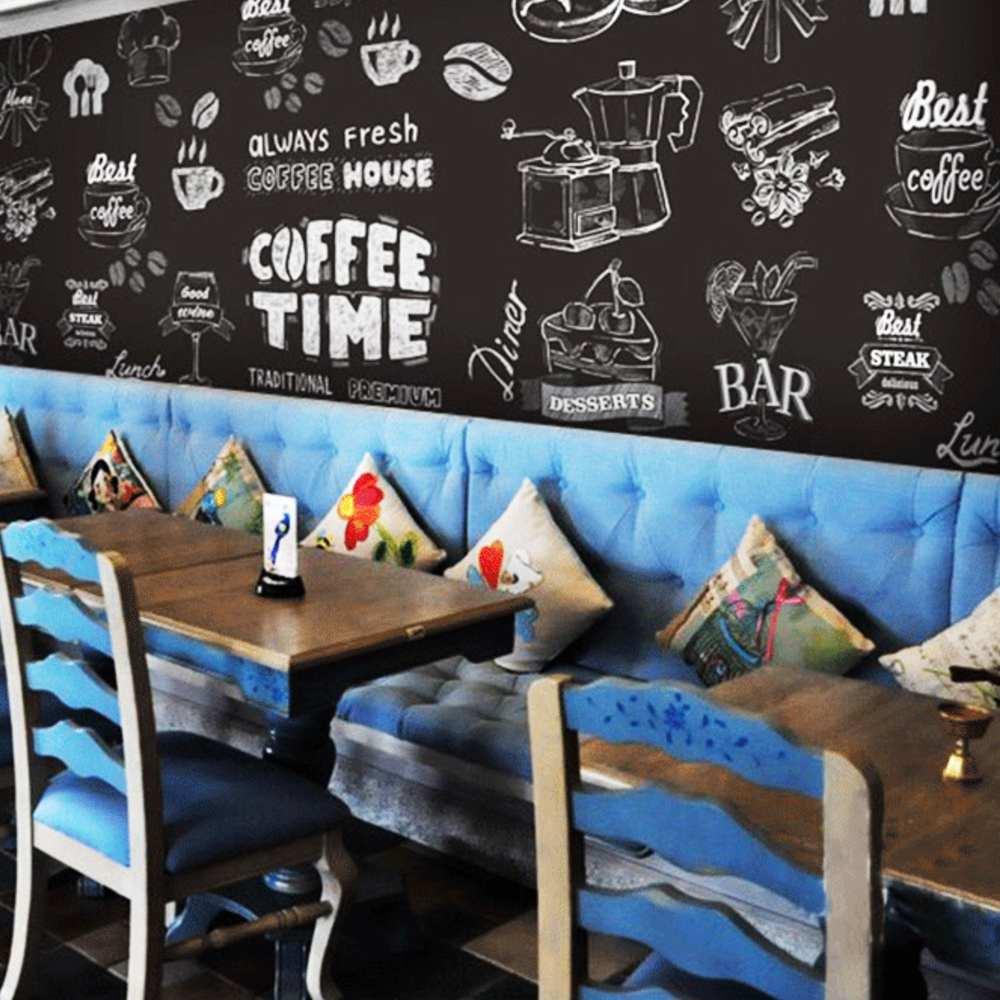 tranh vẽ tường trang trí quán cafe đơn giản