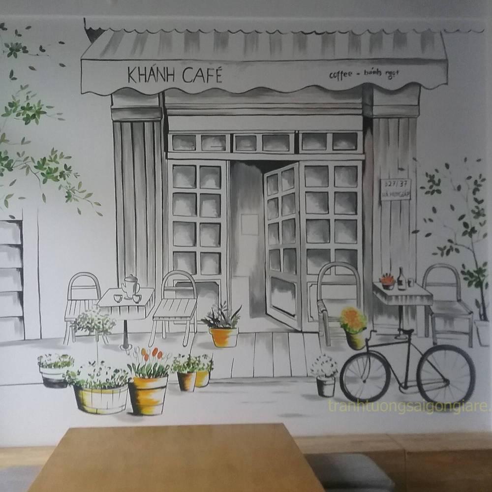 tranh vẽ tường trang trí quán cafe cơ bản