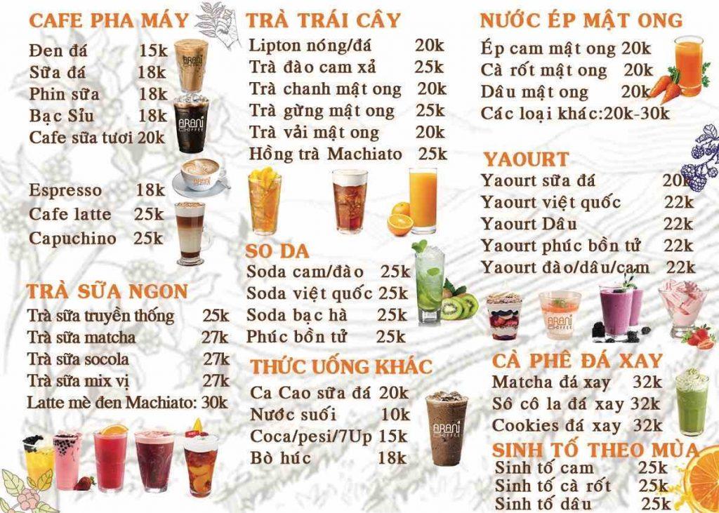 menu quán arani coffee