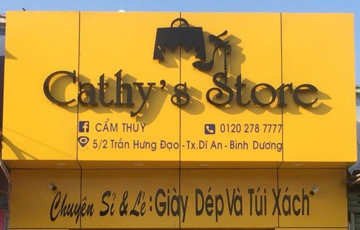 Bảng hiệu shop giày dép cathy store