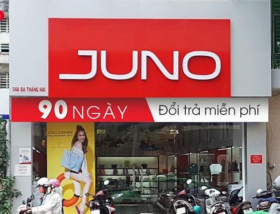 Bảng hiệu shop giày dép đẹp Juno