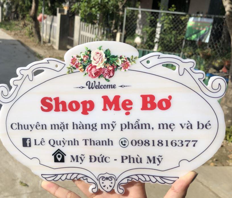 Bảng hiệu shop bán online Mẹ Bơ