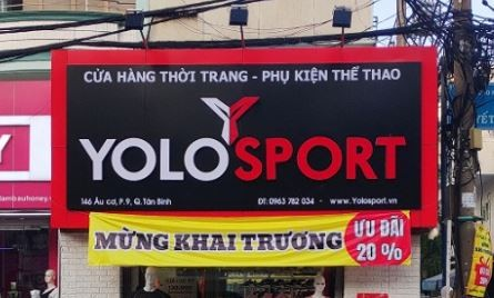 bảng hiệu shop thời trang thể thao yolo sport