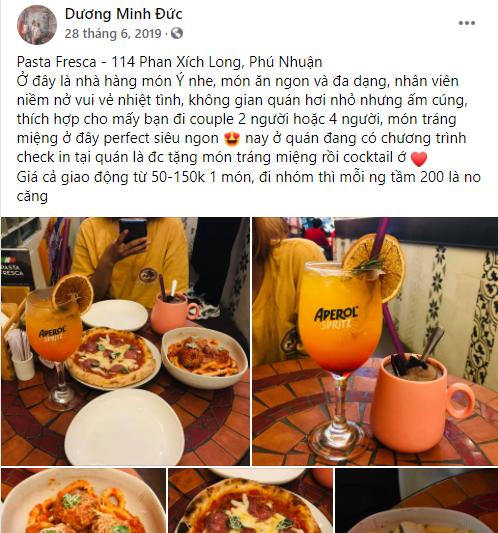 STT cho nhà hàng trên facebook