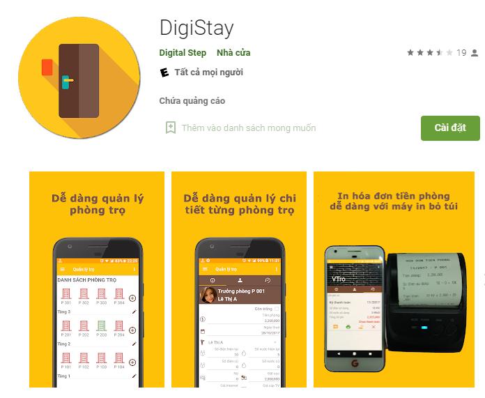 App quản lý nhà trọ Digistay