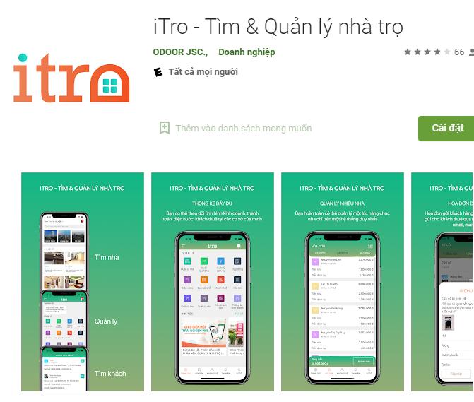 App quản lý nhà trọ iTro