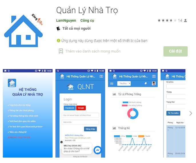 ứng dụng quản lý nhà trọ Lam Nguyen