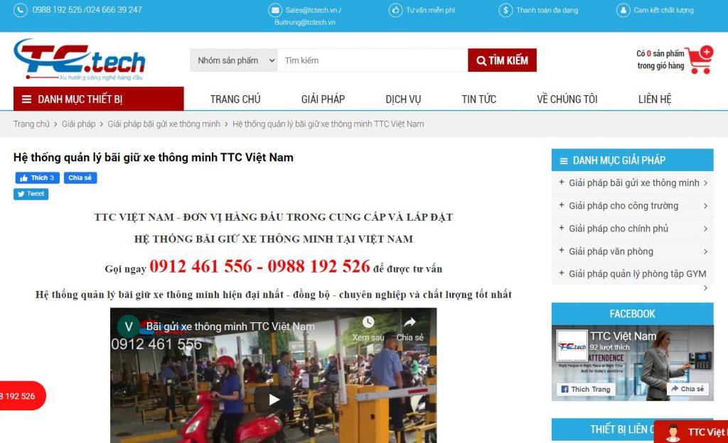 Hệ thống quản lý bãi giữ xe thông minh TTC Việt Nam