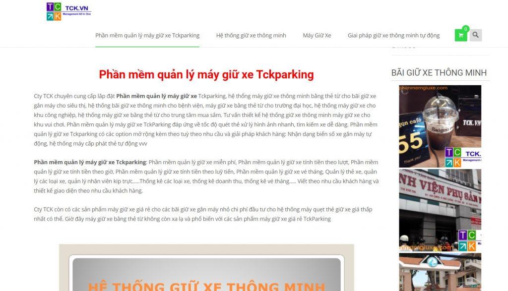Phần mềm quản lý máy giữ xe Tckparking