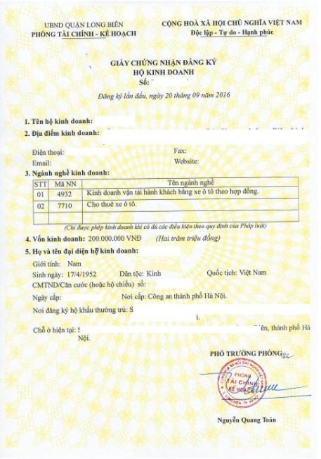 giấy đăng ký hộ kinh doanh